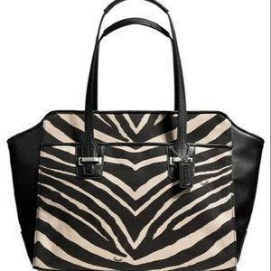 Coach Carry All Taylor F27009 Zebra Satchel NWOT